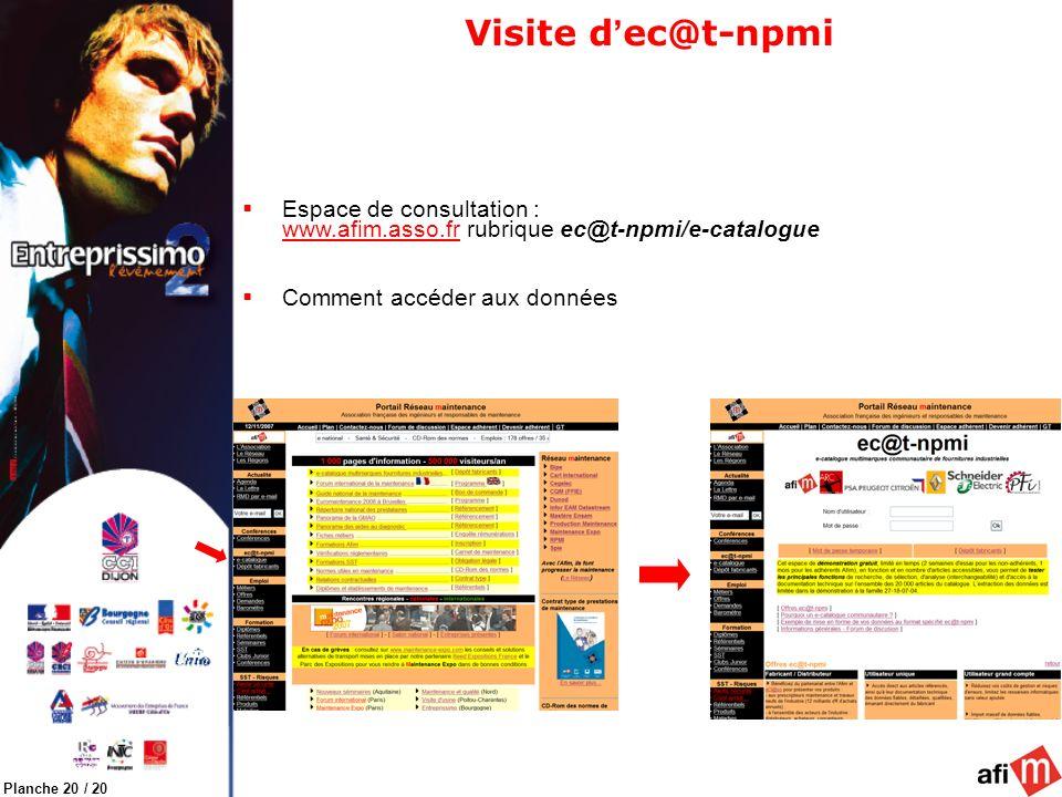 Planche 20 / 20 Visite d ec@t-npmi Espace de consultation : www.afim.asso.fr rubrique ec@t-npmi/e-catalogue Comment accéder aux données