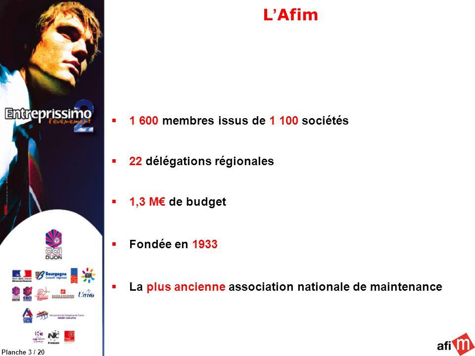 Planche 3 / 20 L Afim 1 600 membres issus de 1 100 sociétés 22 délégations régionales 1,3 M de budget Fondée en 1933 La plus ancienne association nationale de maintenance