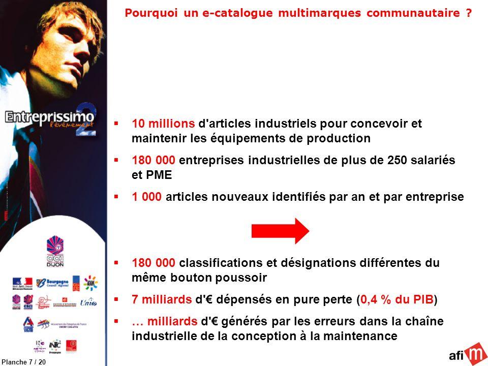 Planche 7 / 20 Pourquoi un e-catalogue multimarques communautaire ? 10 millions d'articles industriels pour concevoir et maintenir les équipements de