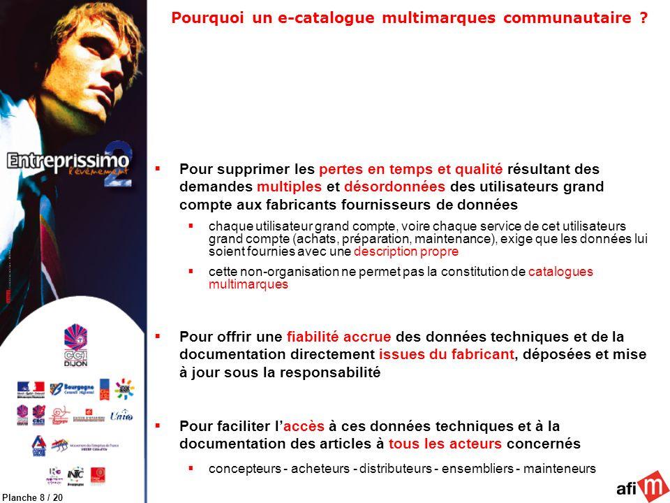 Planche 8 / 20 Pourquoi un e-catalogue multimarques communautaire ? Pour supprimer les pertes en temps et qualité résultant des demandes multiples et