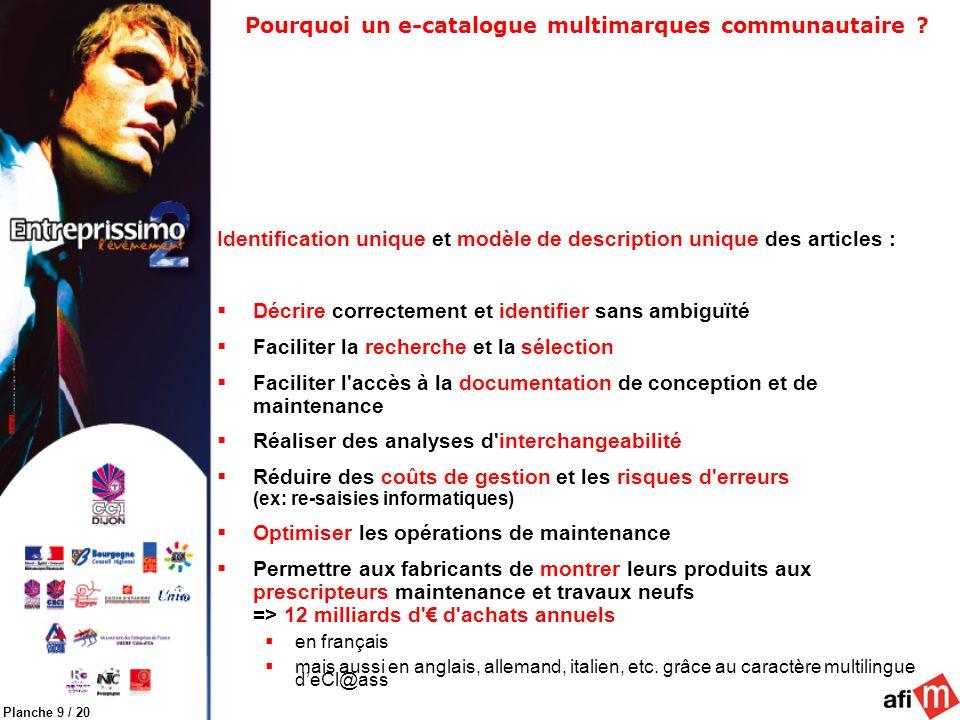 Planche 9 / 20 Pourquoi un e-catalogue multimarques communautaire ? Identification unique et modèle de description unique des articles : Décrire corre