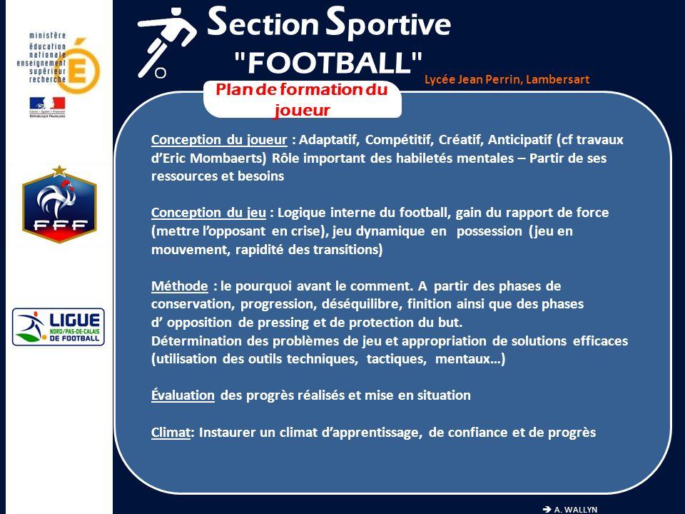 Lycée Jean Perrin, Lambersart A. WALLYN Plan de formation du joueur S ection S portive