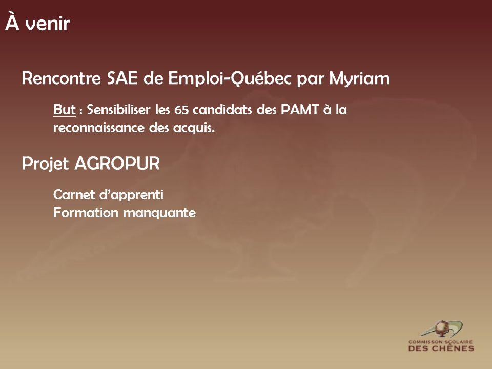 À venir Rencontre SAE de Emploi-Québec par Myriam But : Sensibiliser les 65 candidats des PAMT à la reconnaissance des acquis.