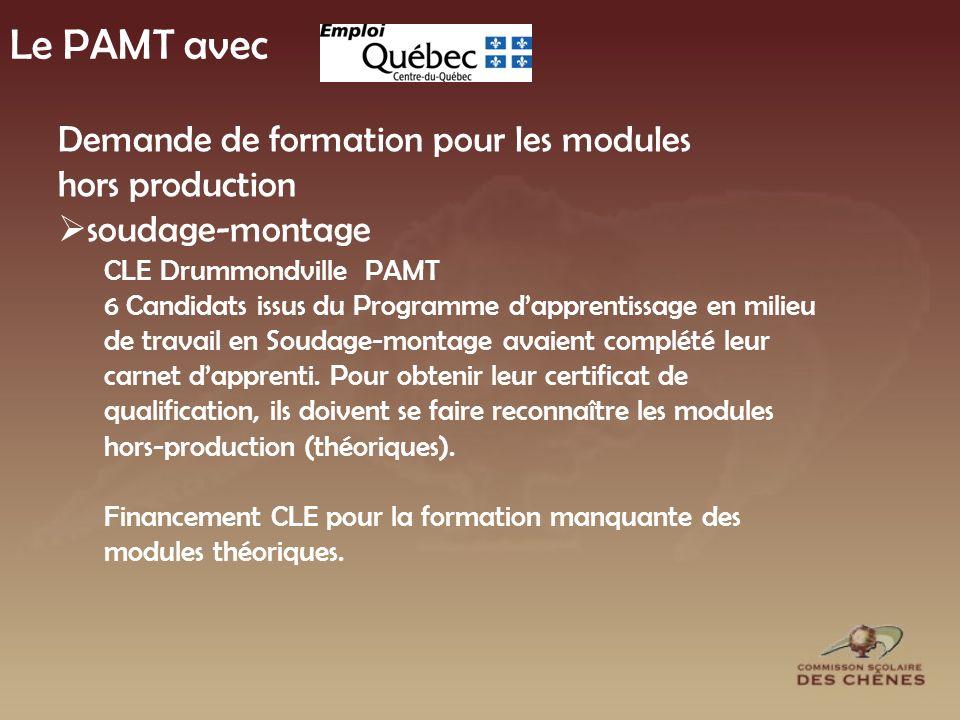 Le PAMT avec Demande de formation pour les modules hors production soudage-montage CLE Drummondville PAMT 6 Candidats issus du Programme dapprentissage en milieu de travail en Soudage-montage avaient complété leur carnet dapprenti.