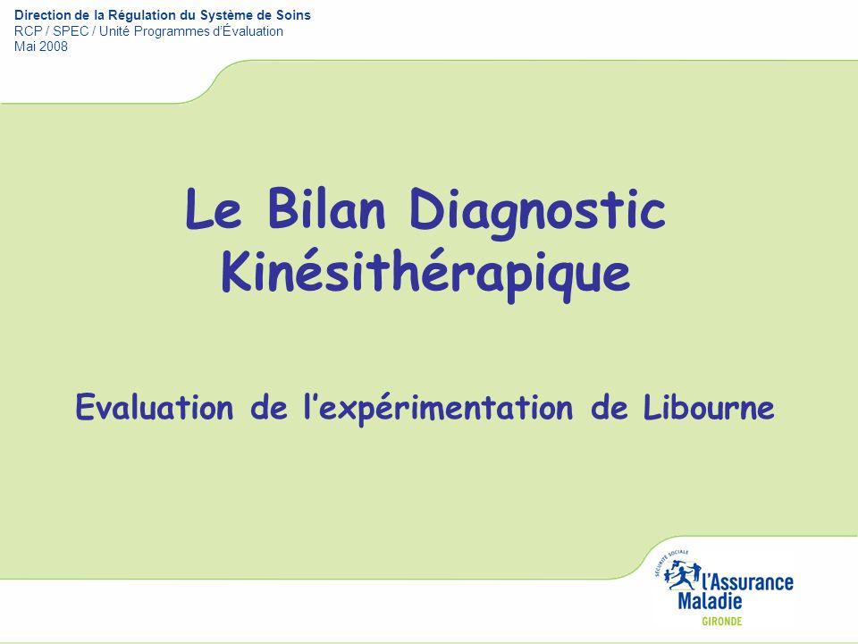Le Bilan Diagnostic Kinésithérapique Evaluation de lexpérimentation de Libourne Direction de la Régulation du Système de Soins RCP / SPEC / Unité Prog