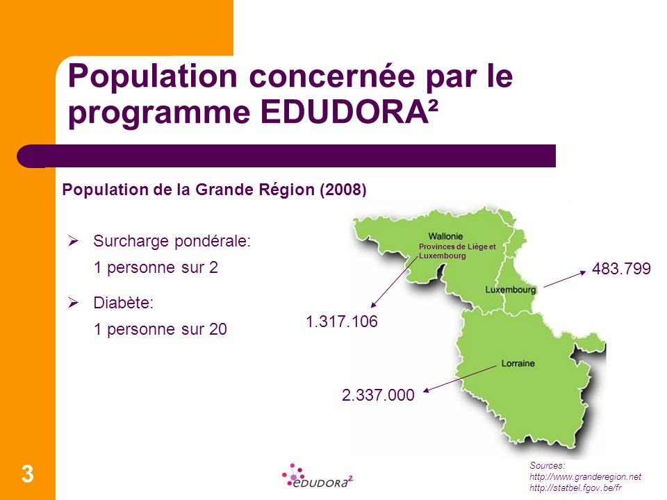 Population concernée par le programme EDUDORA² Population de la Grande Région (2008) Sources: http://www.granderegion.net http://statbel.fgov.be/fr 3 Surcharge pondérale: 1 personne sur 2 Diabète: 1 personne sur 20 1.317.106 483.799 2.337.000 Provinces de Liège et Luxembourg