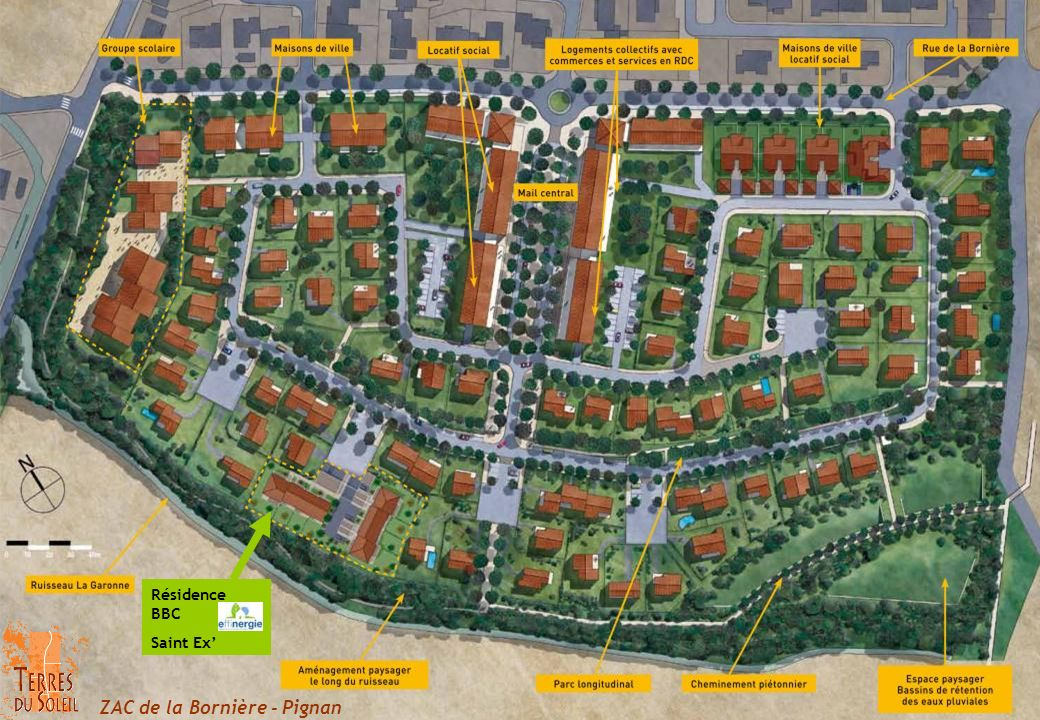 8 logements de type T4 3 logements de plein pied : 96 m² hab.