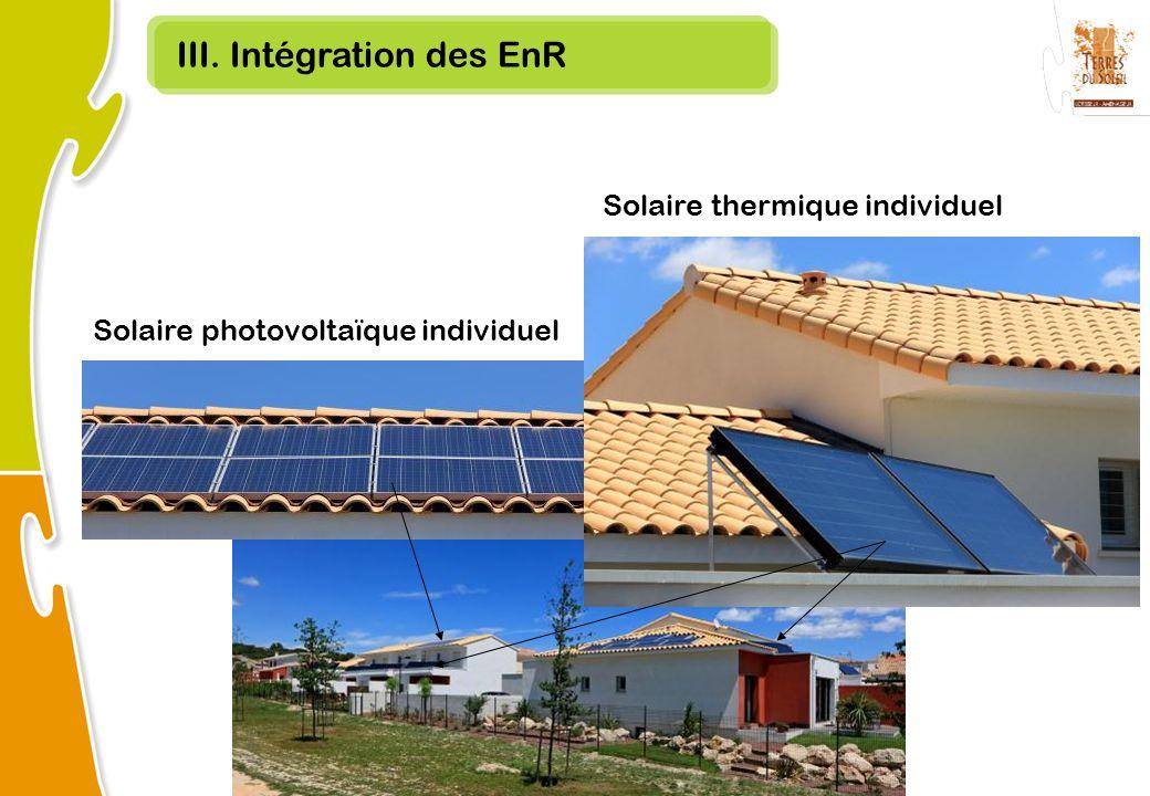 III. Intégration des EnR Solaire thermique individuel Solaire photovoltaïque individuel