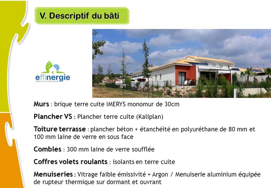 V. Descriptif du bâti Murs Murs : brique terre cuite IMERYS monomur de 30cm Plancher VS : Plancher VS : Plancher terre cuite (Kaliplan) Toiture terras