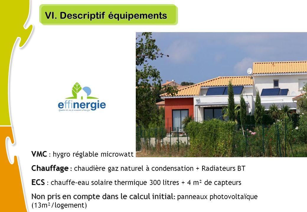 VI. Descriptif équipements VMC VMC : hygro réglable microwatt Chauffage : Chauffage : chaudière gaz naturel à condensation + Radiateurs BT ECS ECS : c