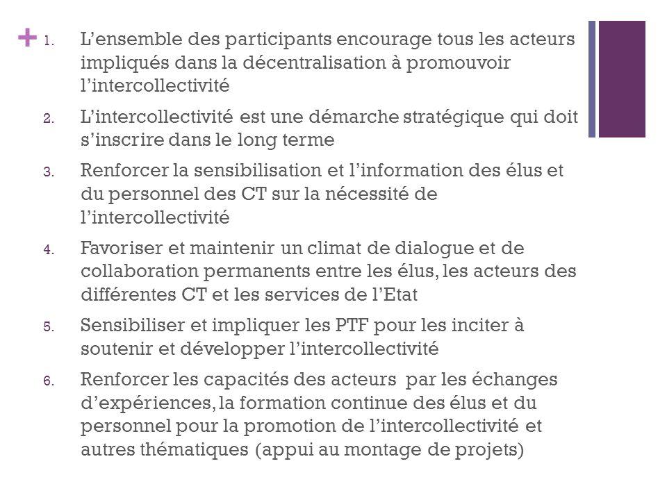 + 1. Lensemble des participants encourage tous les acteurs impliqués dans la décentralisation à promouvoir lintercollectivité 2. Lintercollectivité es