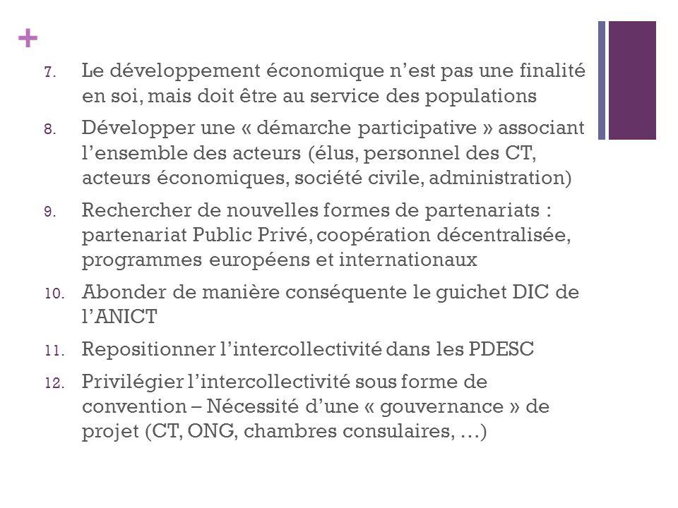 + 7. Le développement économique nest pas une finalité en soi, mais doit être au service des populations 8. Développer une « démarche participative »
