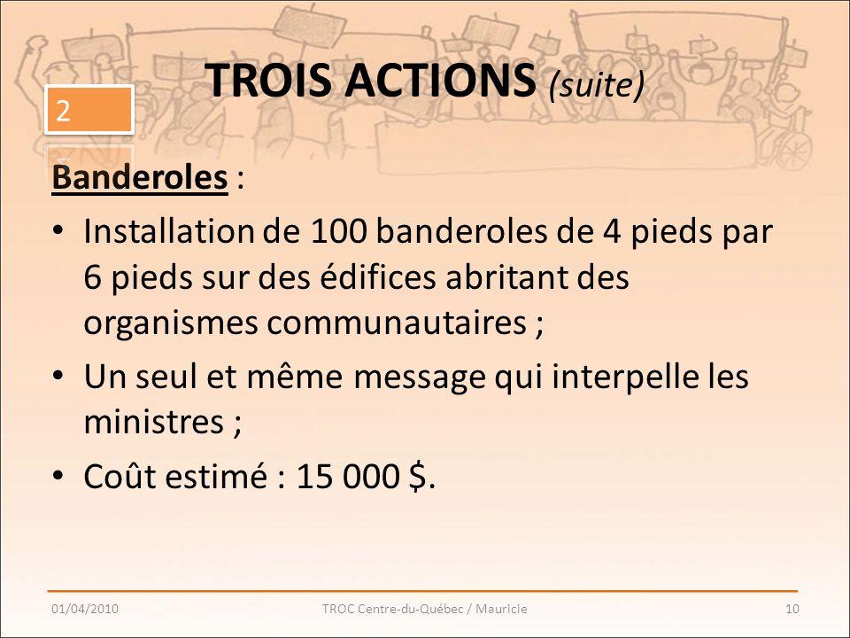 TROIS ACTIONS (suite) Banderoles : Installation de 100 banderoles de 4 pieds par 6 pieds sur des édifices abritant des organismes communautaires ; Un seul et même message qui interpelle les ministres ; Coût estimé : 15 000 $.