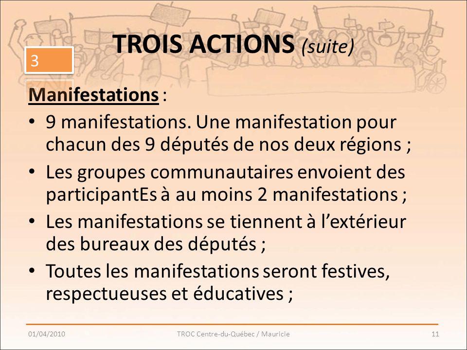 TROIS ACTIONS (suite) Manifestations : 9 manifestations.