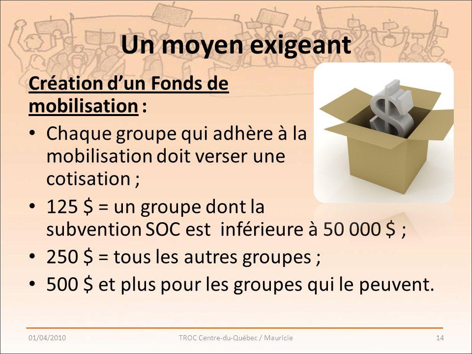 Un moyen exigeant Création dun Fonds de mobilisation : Chaque groupe qui adhère à la mobilisation doit verser une cotisation ; 125 $ = un groupe dont la subvention SOC est inférieure à 50 000 $ ; 250 $ = tous les autres groupes ; 500 $ et plus pour les groupes qui le peuvent.