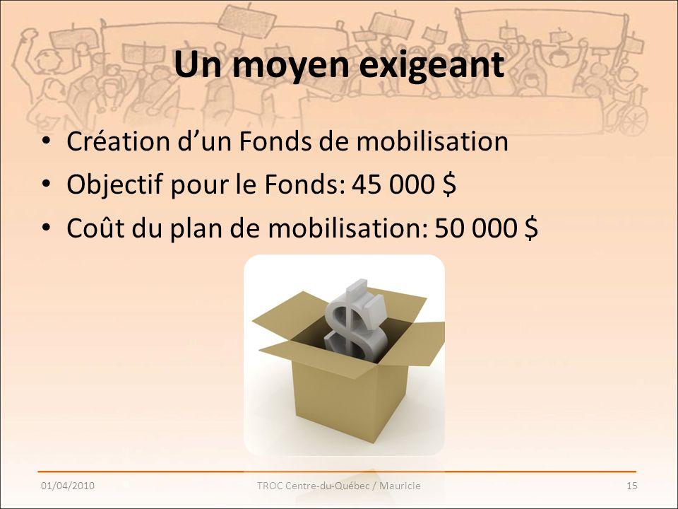 Un moyen exigeant Création dun Fonds de mobilisation Objectif pour le Fonds: 45 000 $ Coût du plan de mobilisation: 50 000 $ 01/04/201015TROC Centre-du-Québec / Mauricie