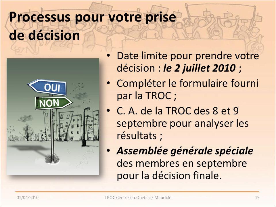 Processus pour votre prise de décision Date limite pour prendre votre décision : le 2 juillet 2010 ; Compléter le formulaire fourni par la TROC ; C.