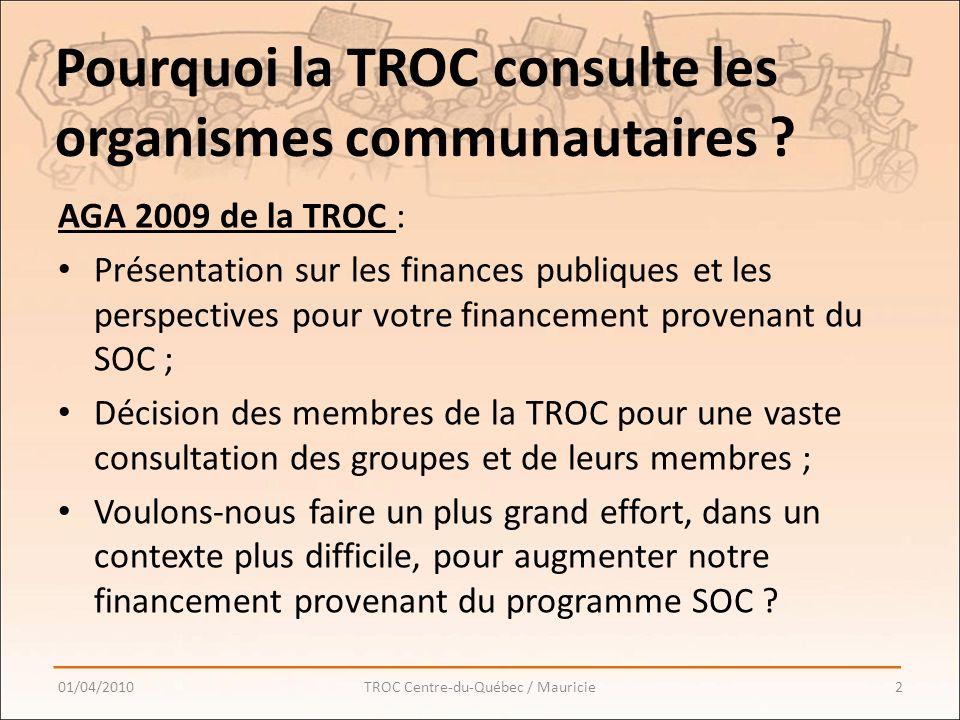 Pourquoi la TROC consulte les organismes communautaires .