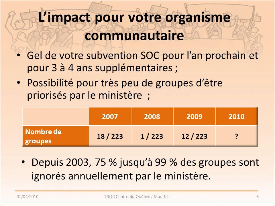 Limpact pour votre organisme communautaire Gel de votre subvention SOC pour lan prochain et pour 3 à 4 ans supplémentaires ; Possibilité pour très peu de groupes dêtre priorisés par le ministère ; 01/04/20106TROC Centre-du-Québec / Mauricie Depuis 2003, 75 % jusquà 99 % des groupes sont ignorés annuellement par le ministère.