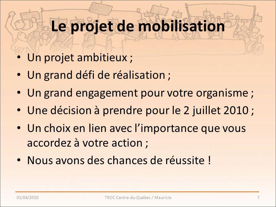 Le projet de mobilisation Un projet ambitieux ; Un grand défi de réalisation ; Un grand engagement pour votre organisme ; Une décision à prendre pour le 2 juillet 2010 ; Un choix en lien avec limportance que vous accordez à votre action ; Nous avons des chances de réussite .