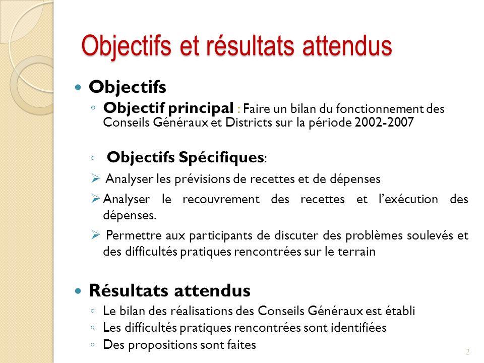 Objectifs et résultats attendus Objectifs Objectif principal : Faire un bilan du fonctionnement des Conseils Généraux et Districts sur la période 2002-2007 Objectifs Spécifiques : Analyser les prévisions de recettes et de dépenses Analyser le recouvrement des recettes et lexécution des dépenses.