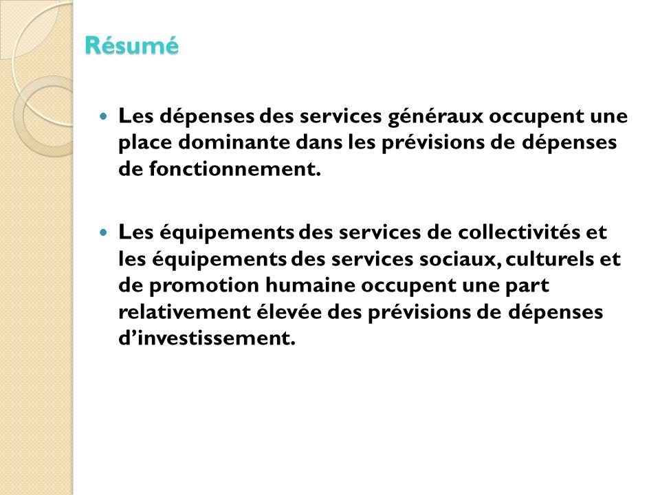 Les dépenses des services généraux occupent une place dominante dans les prévisions de dépenses de fonctionnement.