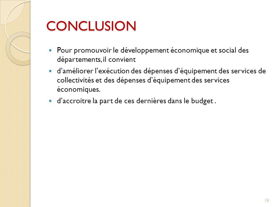 Pour promouvoir le développement économique et social des départements, il convient daméliorer lexécution des dépenses déquipement des services de collectivités et des dépenses déquipement des services économiques.