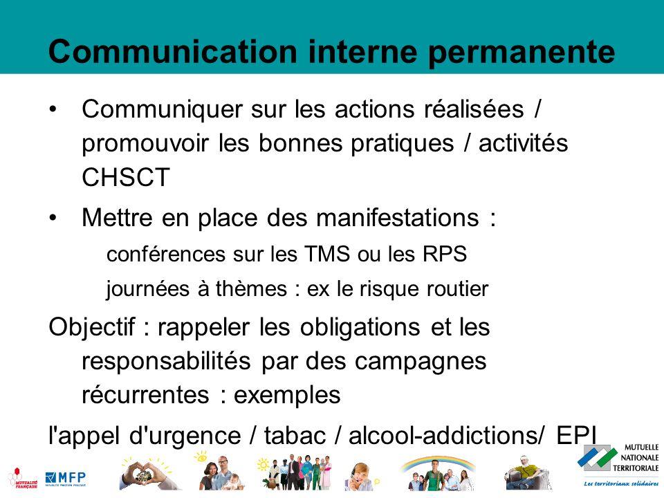 Communication interne permanente Communiquer sur les actions réalisées / promouvoir les bonnes pratiques / activités CHSCT Mettre en place des manifes