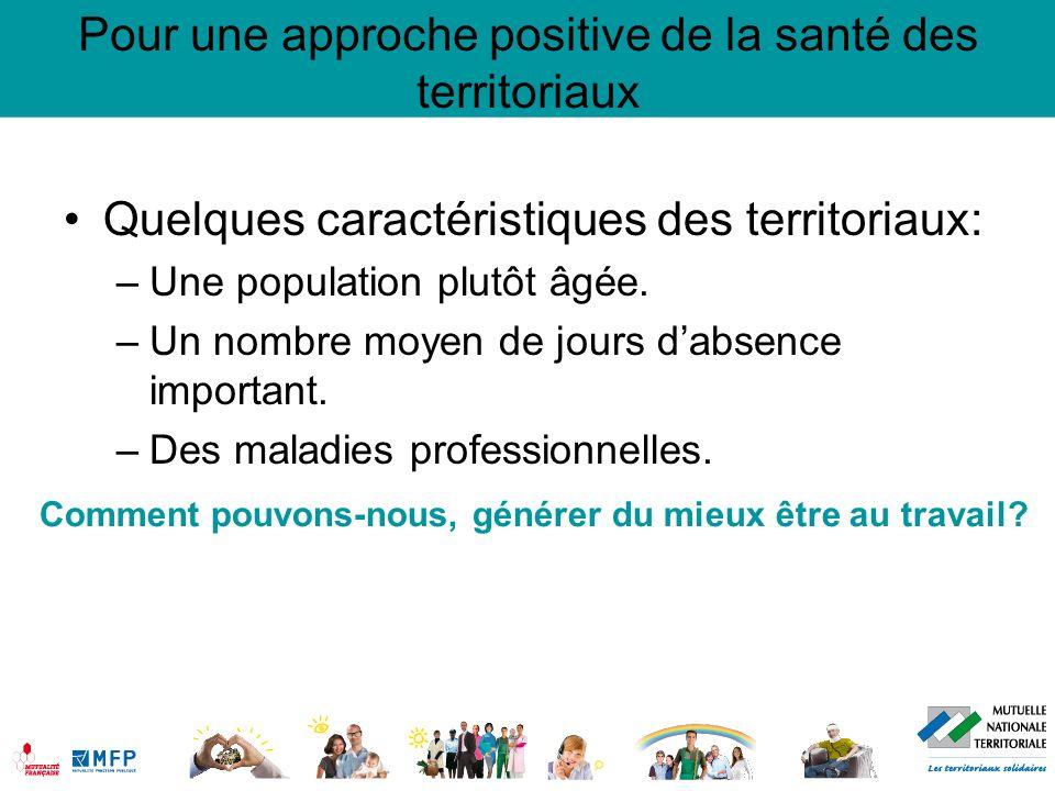 Quelques caractéristiques des territoriaux: –Une population plutôt âgée. –Un nombre moyen de jours dabsence important. –Des maladies professionnelles.