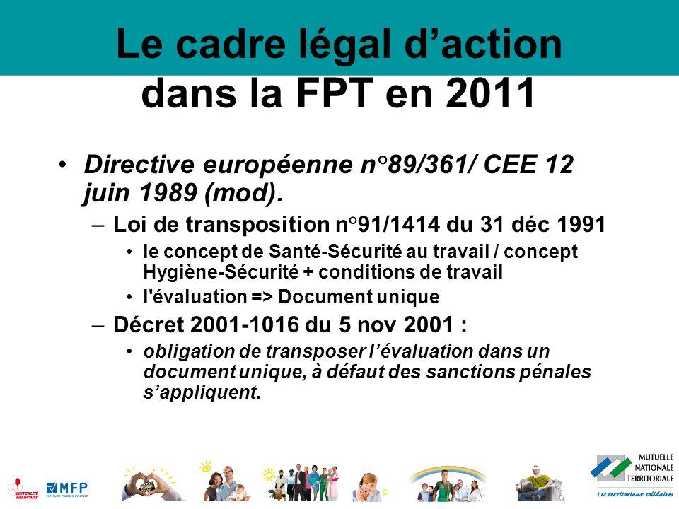 Le cadre légal de la santé au travail dans la FPT en 2011 Loi FPT 84-53 du 26 janvier 1984 Notamment modifiée par loi du 5 juillet 2010 relative à la rénovation du dialogue social –Article 32 et 33 : Comité Technique –Article 33-1 et 33-2 : Comités d hygiène, de sécurité et des conditions de travail (CHSCT) seuil abaissé à 50 agents des pouvoirs comme dans le privé