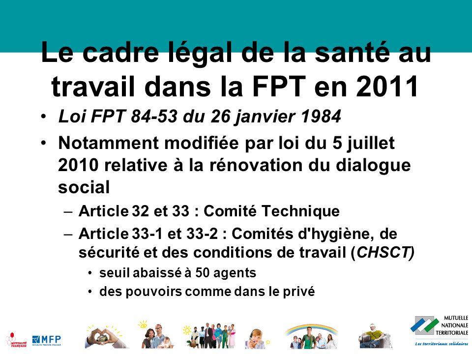 Le cadre légal de la santé au travail dans la FPT en 2011 Loi FPT 84-53 du 26 janvier 1984 (suite) Article 108-1 et suivants –les livres 1 à 5 de la 4ème partie du code du travail s applique à la FPT.