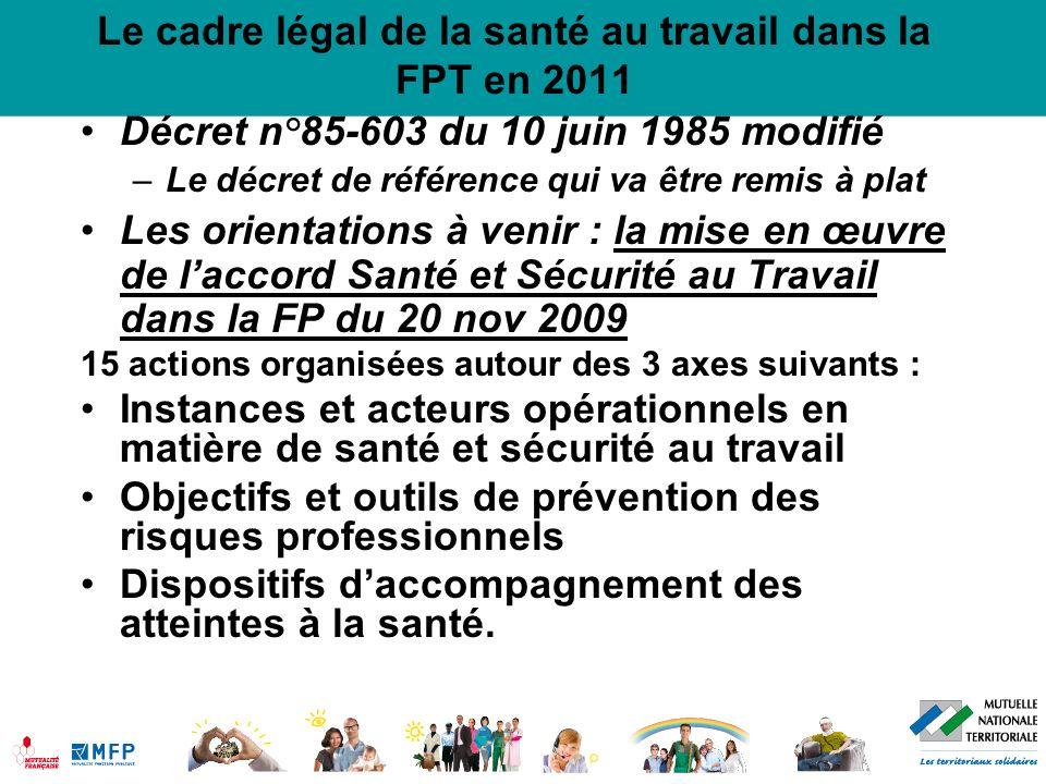 Le cadre légal de la santé au travail dans la FPT en 2011 Décret n°85-603 du 10 juin 1985 modifié –Le décret de référence qui va être remis à plat Les