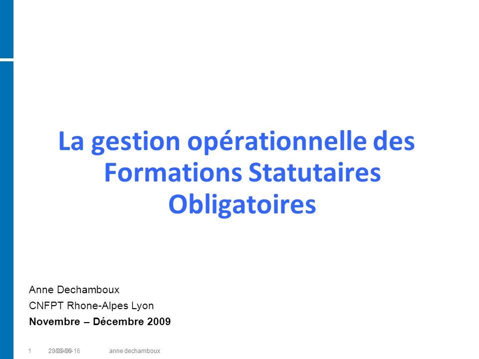 12008-06-16anne dechamboux La gestion opérationnelle des Formations Statutaires Obligatoires Anne Dechamboux CNFPT Rhone-Alpes Lyon Novembre – Décembr