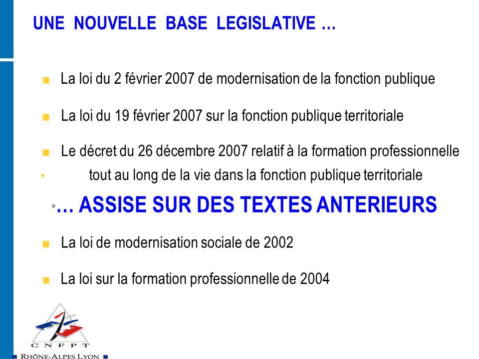 UNE NOUVELLE BASE LEGISLATIVE … La loi du 2 février 2007 de modernisation de la fonction publique La loi du 19 février 2007 sur la fonction publique t