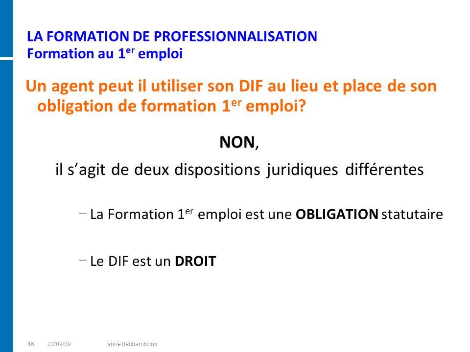 LA FORMATION DE PROFESSIONNALISATION Formation au 1 er emploi Un agent peut il utiliser son DIF au lieu et place de son obligation de formation 1 er e