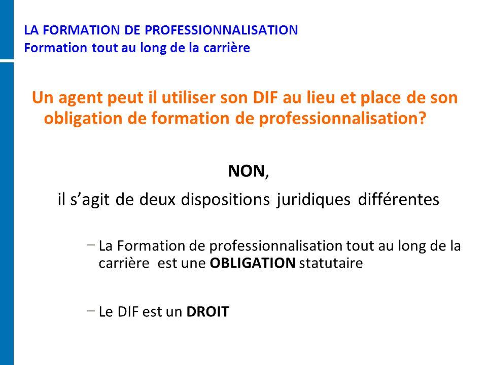 LA FORMATION DE PROFESSIONNALISATION Formation tout au long de la carrière Un agent peut il utiliser son DIF au lieu et place de son obligation de for