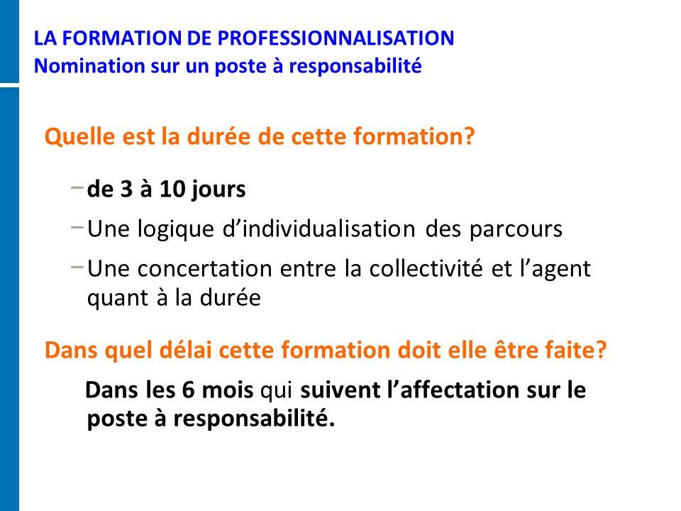 LA FORMATION DE PROFESSIONNALISATION Nomination sur un poste à responsabilité Quelle est la durée de cette formation? de 3 à 10 jours Une logique dind