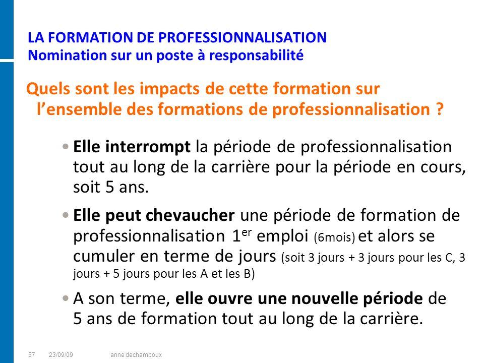 LA FORMATION DE PROFESSIONNALISATION Nomination sur un poste à responsabilité Quels sont les impacts de cette formation sur lensemble des formations d
