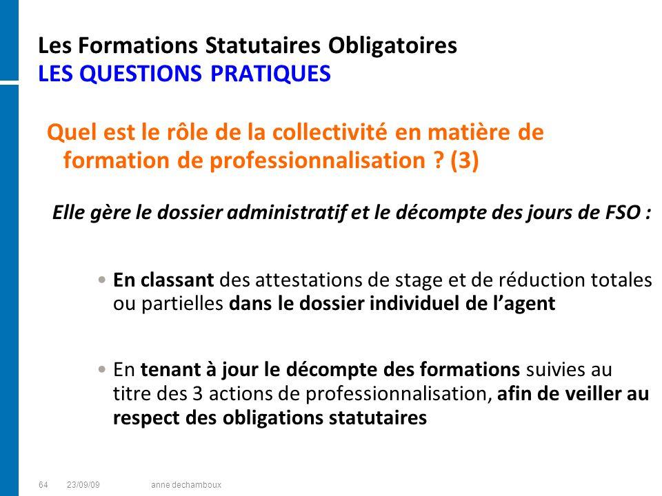 Les Formations Statutaires Obligatoires LES QUESTIONS PRATIQUES Quel est le rôle de la collectivité en matière de formation de professionnalisation ?
