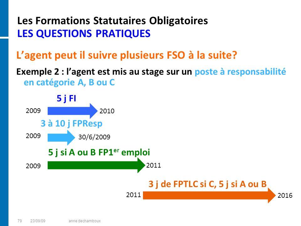 Les Formations Statutaires Obligatoires LES QUESTIONS PRATIQUES Lagent peut il suivre plusieurs FSO à la suite? Exemple 2 : lagent est mis au stage su