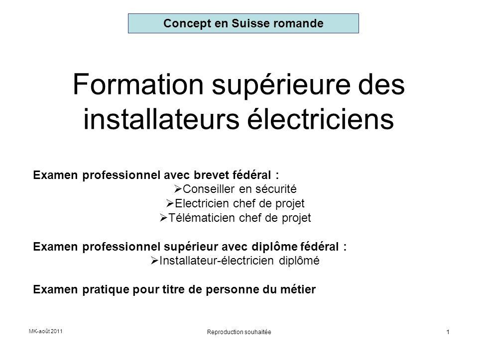 MK-août 2011 1 Formation supérieure des installateurs électriciens Examen professionnel avec brevet fédéral : Conseiller en sécurité Electricien chef