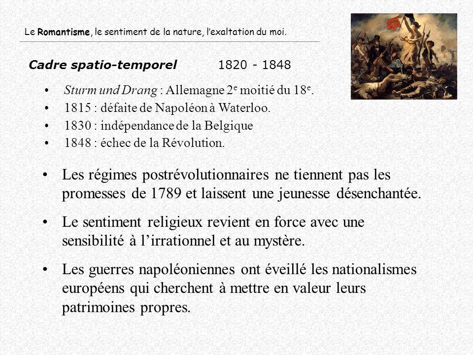 Cadre spatio-temporel1820 - 1848 Sturm und Drang : Allemagne 2 e moitié du 18 e. 1815 : défaite de Napoléon à Waterloo. 1830 : indépendance de la Belg