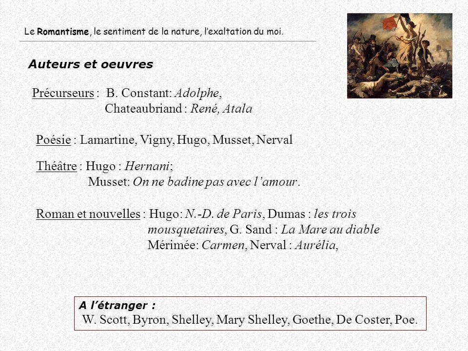 Auteurs et oeuvres A létranger : W. Scott, Byron, Shelley, Mary Shelley, Goethe, De Coster, Poe. Le Romantisme, le sentiment de la nature, lexaltation