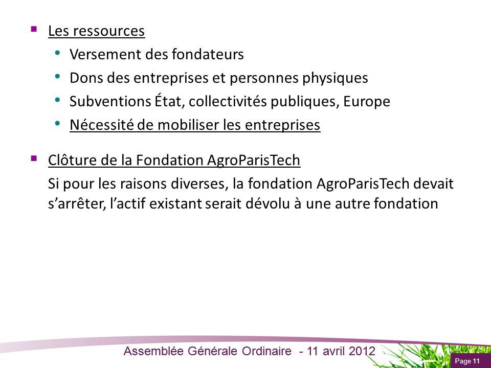 Page 11 Assemblée Générale Ordinaire - 11 avril 2012 Les ressources Versement des fondateurs Dons des entreprises et personnes physiques Subventions É