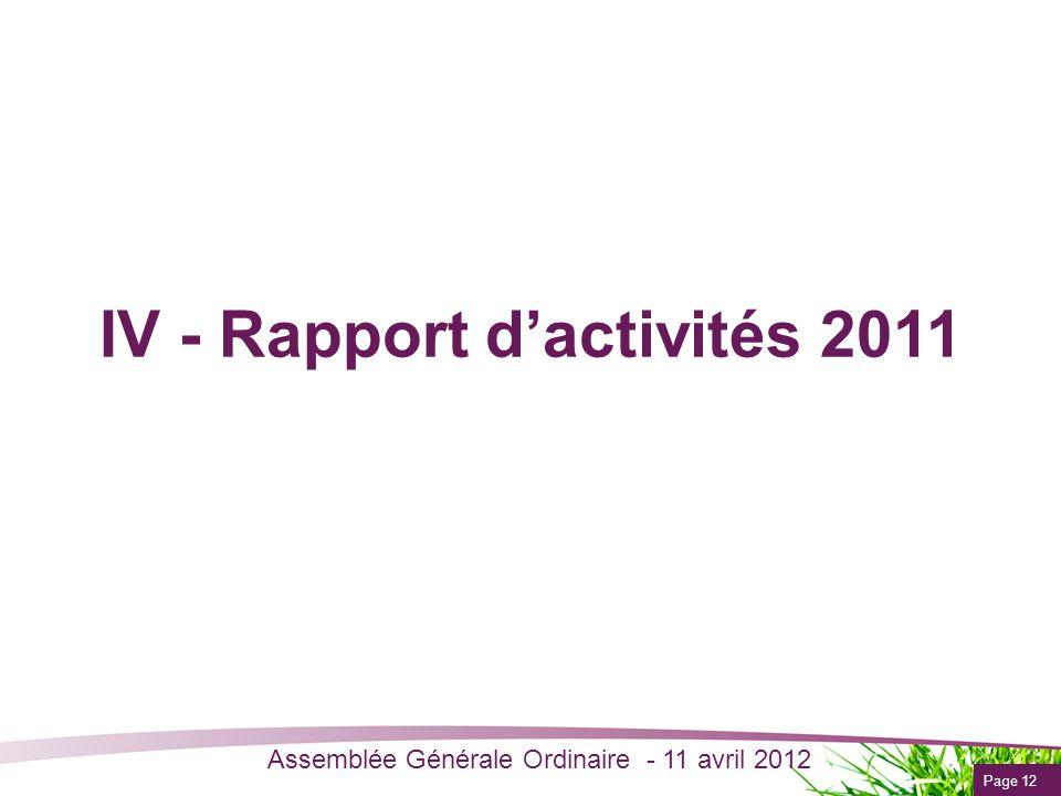Page 12 Assemblée Générale Ordinaire - 11 avril 2012 IV - Rapport dactivités 2011
