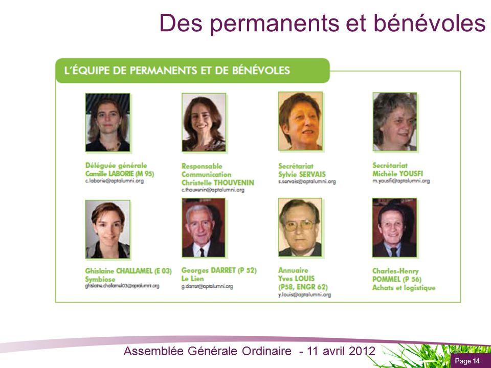 Page 14 Assemblée Générale Ordinaire - 11 avril 2012 Des permanents et bénévoles 14