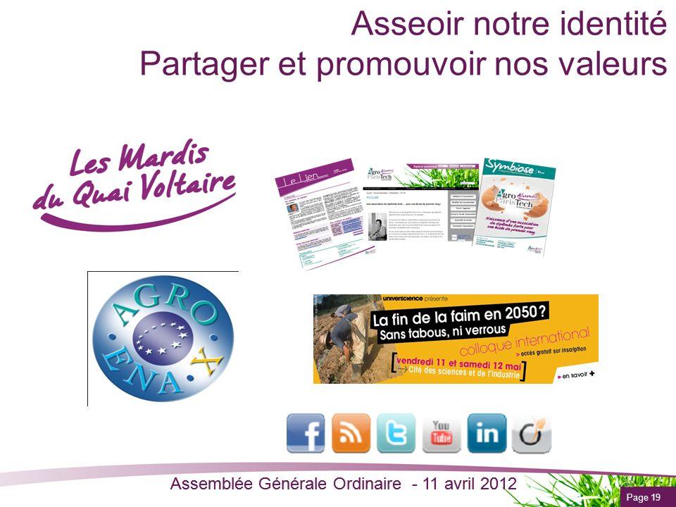 Page 19 Assemblée Générale Ordinaire - 11 avril 2012 Asseoir notre identité Partager et promouvoir nos valeurs 19