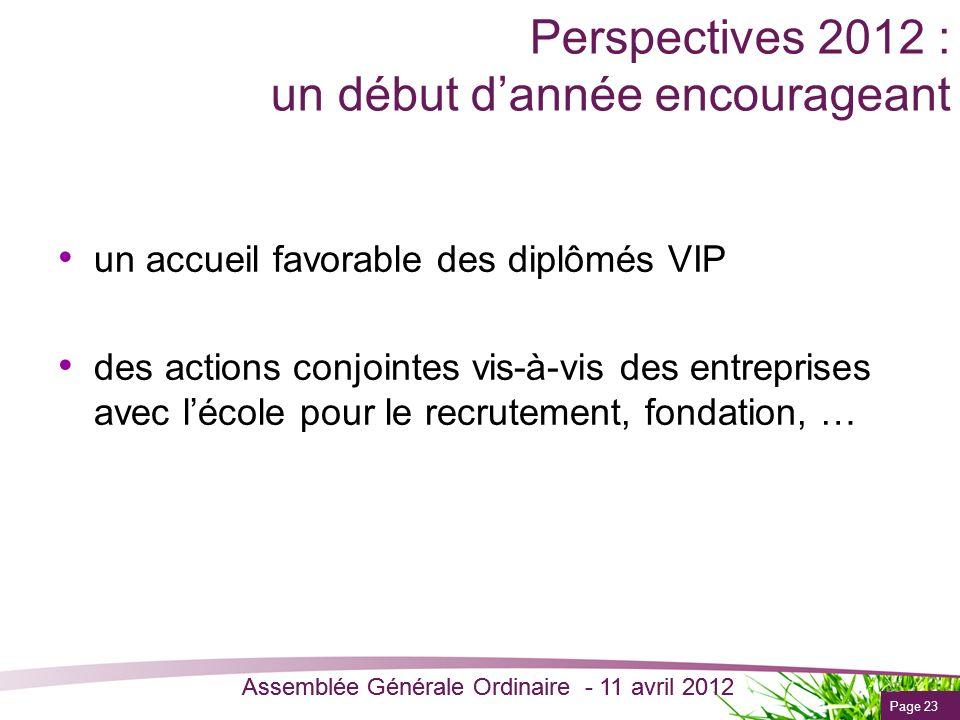 Page 23 Assemblée Générale Ordinaire - 11 avril 2012 Perspectives 2012 : un début dannée encourageant un accueil favorable des diplômés VIP des action