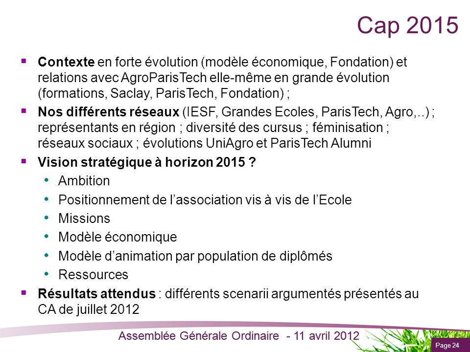 Page 24 Assemblée Générale Ordinaire - 11 avril 2012 Cap 2015 Contexte en forte évolution (modèle économique, Fondation) et relations avec AgroParisTe