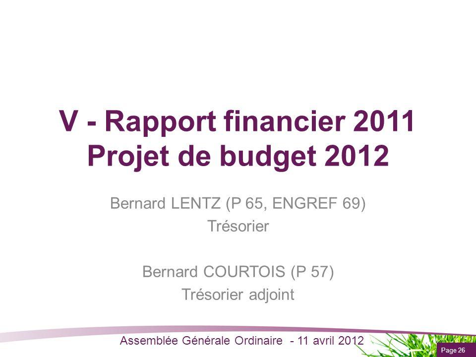Page 26 Assemblée Générale Ordinaire - 11 avril 2012 V - Rapport financier 2011 Projet de budget 2012 Bernard LENTZ (P 65, ENGREF 69) Trésorier Bernar